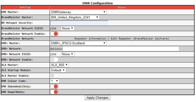dmr config screen
